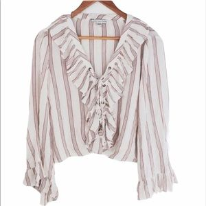 American Eagle AE Ruffle Bell Sleeve Lace Up Top